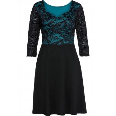 Jersey-Kleid mit Spitze 3/4 Arm  in schwarz für Damen von bonprix