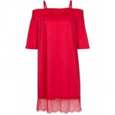 Jersey-Kleid mit Spitze kurzer Arm  in rot von bonprix