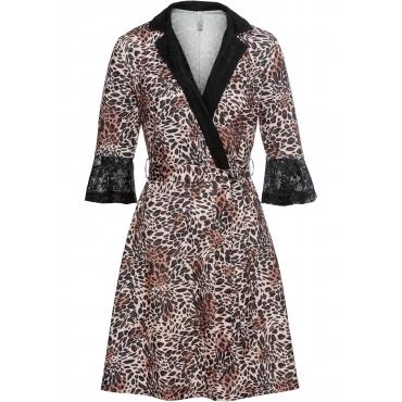Jersey-Kleid mit Spitzeneinsatz halber Arm  in beige für Damen von bonprix