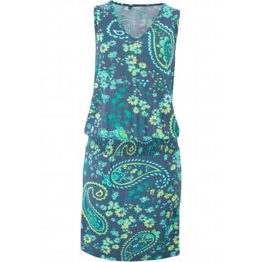 Jerseykleid, bedruckt ohne Ärmel  in blau für Damen von bonprix