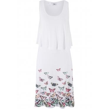 Jerseykleid in Lagen-Optik mit Schmetterlingsdruck ohne Ärmel  in weiß für Damen von bonprix