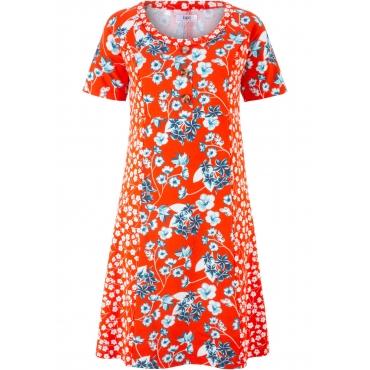 Jerseykleid in Patchwork-Optik, Kurzarm in orange für Damen von bonprix