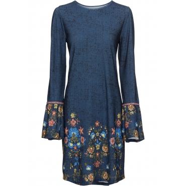 Jersey-Kleid langarm  in blau für Damen von bonprix