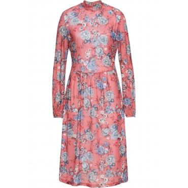 Jerseykleid, Mesh langarm  in rosa von bonprix