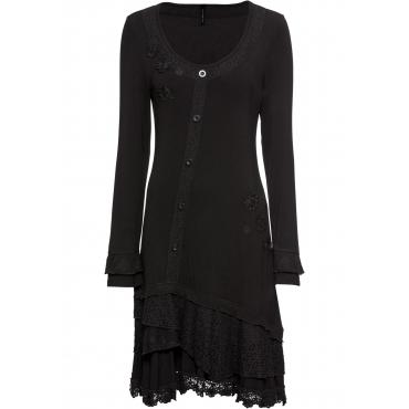 Jerseykleid mit Applikationen langarm  in schwarz für Damen von bonprix