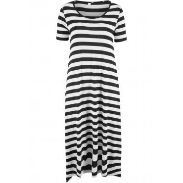 Jerseykleid mit asymmetrischem Saum, 1/2 Arm in schwarz von bonprix