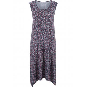 Jerseykleid mit asymmetrischem Saum ohne Ärmel  in blau von bonprix