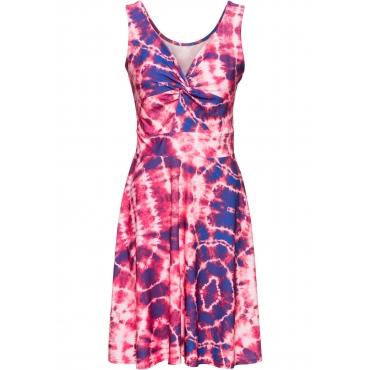 Jerseykleid mit Batikdruck ohne Ärmel  in pink für Damen von bonprix