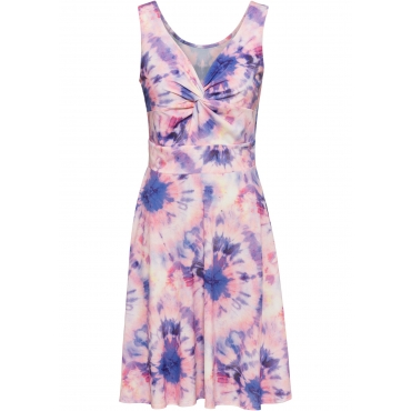 Jerseykleid mit Batikdruck ohne Ärmel  in rosa für Damen von bonprix