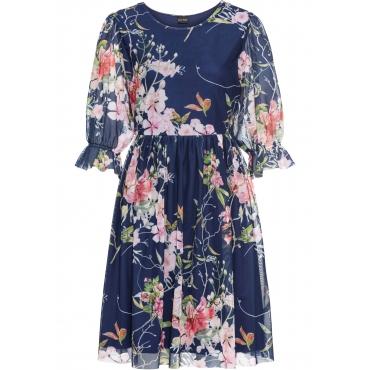 Jerseykleid mit bedrucktem Mesh halber Arm  in blau für Damen von bonprix