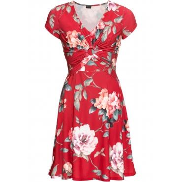 Jerseykleid mit Blumendruck kurzer Arm  in rot für Damen von bonprix