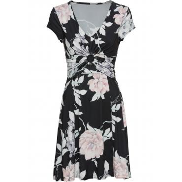 Jerseykleid mit Blumendruck kurzer Arm  in schwarz von bonprix