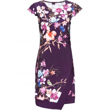 Jerseykleid mit Blumenprint kurzer Arm  in lila von bonprix