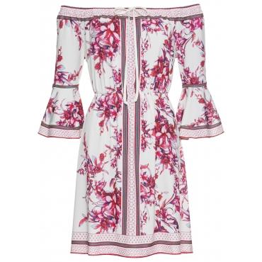 Jerseykleid mit Blumenprint langarm  in beige von bonprix