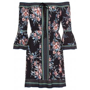 Jerseykleid mit Blumenprint langarm  in blau von bonprix