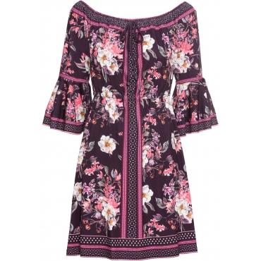 Jerseykleid mit Blumenprint langarm  in lila von bonprix