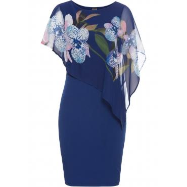Jerseykleid mit Chiffon-Überwurf kurzer Arm  in blau für Damen von bonprix