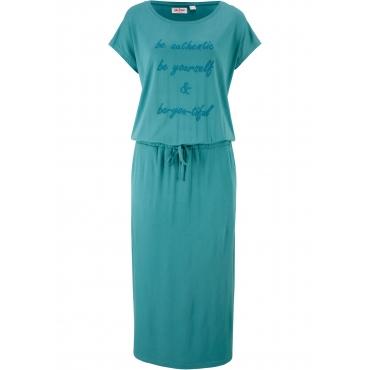 Jerseykleid mit Druck, Kurzarm in petrol für Damen von bonprix