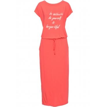 Jerseykleid mit Druck, Kurzarm in rot für Damen von bonprix