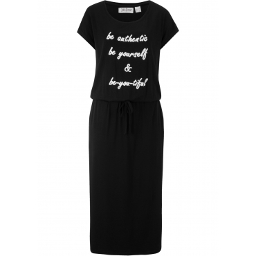 Jerseykleid mit Druck, Kurzarm in schwarz für Damen von bonprix
