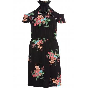 Cold-Shoulder-Kleid mit floralem Print ohne Ärmel  in schwarz für Damen von bonprix