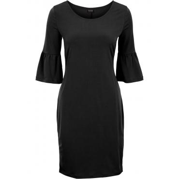 Jerseykleid mit Glockenärmeln in schwarz von bonprix
