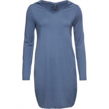 Jerseykleid mit Kapuze langarm  in blau für Damen von bonprix