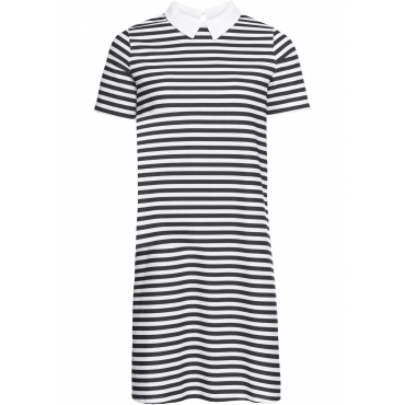 Jerseykleid mit Kragen kurzer Arm  in schwarz für Damen von bonprix