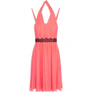 Jerseykleid mit Mesh und Applikation ohne Ärmel  in orange für Damen von bonprix