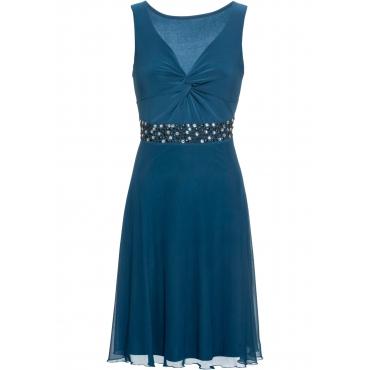 Jerseykleid mit Mesh und Applikation ohne Ärmel  in petrol für Damen von bonprix