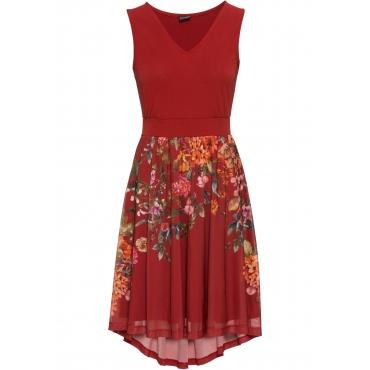 Jerseykleid mit Meshrock ohne Ärmel  in rot für Damen von bonprix