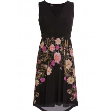 Jerseykleid mit Meshrock ohne Ärmel  in schwarz für Damen von bonprix