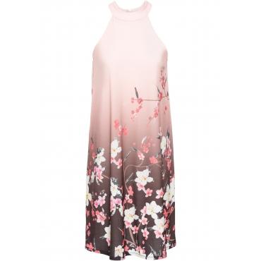 Jerseykleid mit Print ohne Ärmel  in rosa für Damen von bonprix