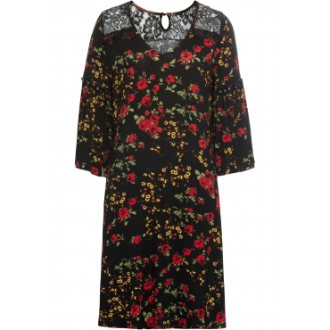Jerseykleid mit Spitze 3/4 Arm  in schwarz für Damen von bonprix