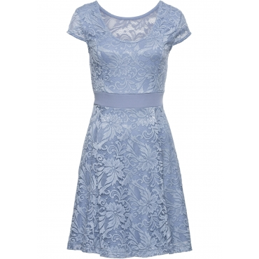 Jerseykleid mit Spitze kurzer Arm  in blau für Damen von bonprix