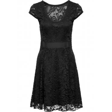 Jerseykleid mit Spitze kurzer Arm  in schwarz für Damen von bonprix