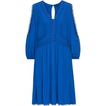 Jerseykleid mit Spitzendetails 3/4 Arm  in blau für Damen von bonprix