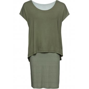 Jerseykleid mit Streifenrock kurzer Arm  in grün für Damen von bonprix