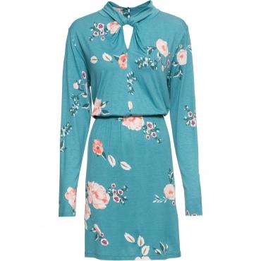 Jerseykleid mit Twist am Kragen langarm  in petrol für Damen von bonprix