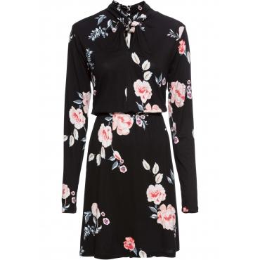 Jerseykleid mit Twist am Kragen langarm  in schwarz für Damen von bonprix