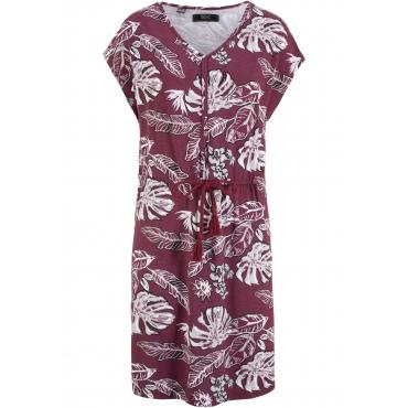Jerseykleid mit V-Ausschnitt, tailliert mit Tunnelzug ohne Ärmel  in rot für Damen von bonprix