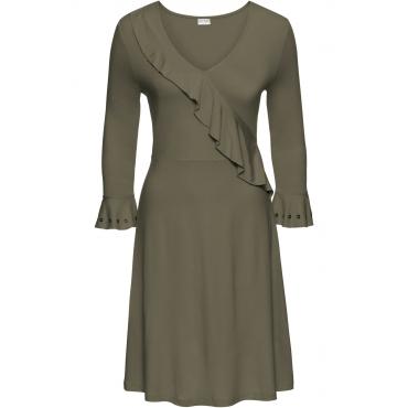 Jerseykleid mit Volant 3/4 Arm  in grün von bonprix