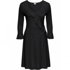 Jerseykleid mit Volant 3/4 Arm  in schwarz von bonprix