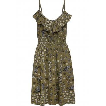 Jerseykleid mit Volant ohne Ärmel  in grün für Damen von bonprix