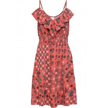 Jerseykleid mit Volant ohne Ärmel  in rosa für Damen von bonprix
