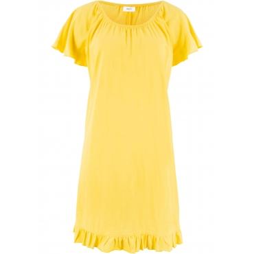 Jerseykleid mit Volants kurzer Arm  in gelb für Damen von bonprix