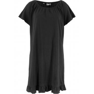 Jerseykleid mit Volants kurzer Arm  in schwarz für Damen von bonprix