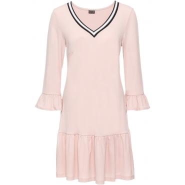 Jerseykleid mit Volants und Ripp-Detail: Must Have in rosa von bonprix