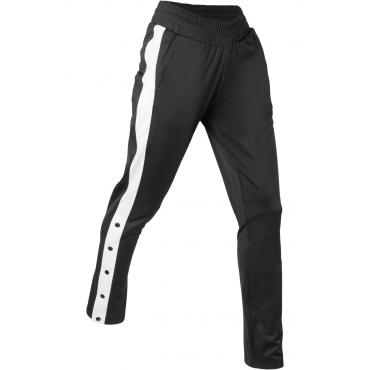 Jogginghose, teilknöpfbar, lang in schwarz für Damen von bonprix