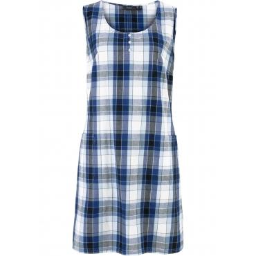 Kariertes Web-Kleid ohne Ärmel  in blau für Damen von bonprix